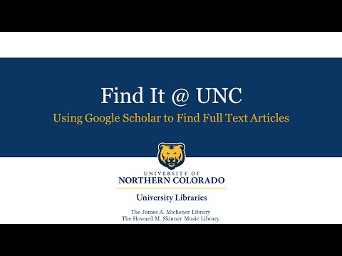 Find it at UNC: Using Google Scholar to Find Full Text Articles