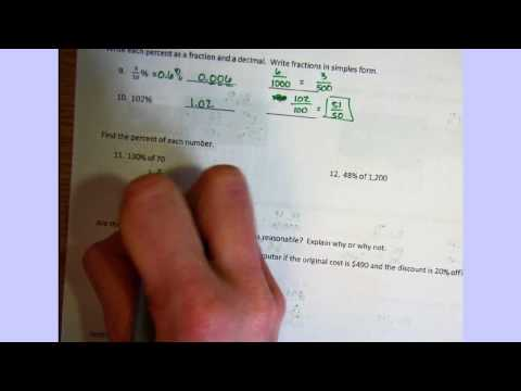 Answer key for Percent Study Guide 1