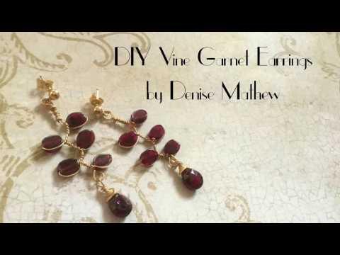 DIY Vine Garnet Earrings by Denise Mathew