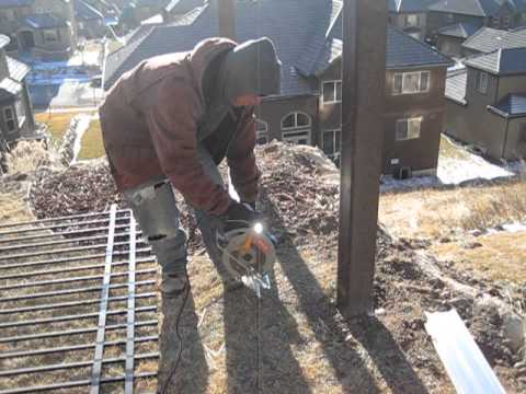 Trex Fencing Installation - Cutting the aluminum rail