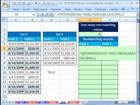 Excel Magic Trick 369: Compare 2 Lists, Extract Records Not Listed Twice
