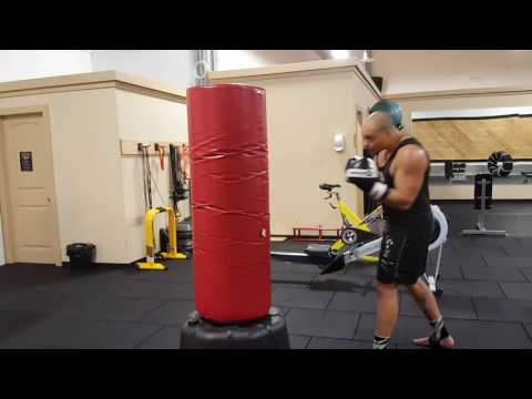 Boxing combinations on the freestanding bag