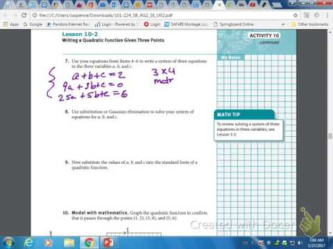 Lecture writing a quadratic equation given 3 points