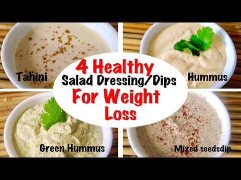 4 Healthy Dips / Salad Dressings Recipe | How to make Tahini, Hummus at home | weight loss recipe