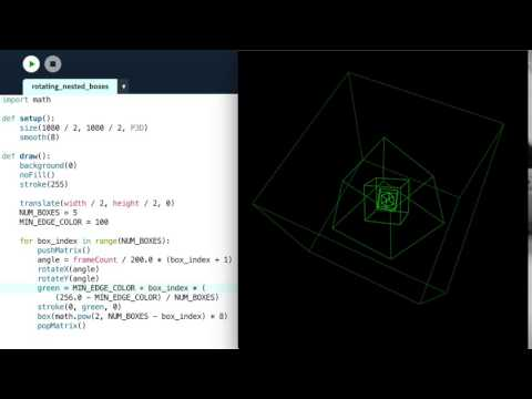 Nested Rotating Cubes with Processing and Python