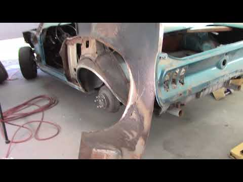 Rear sheet metal removal on the 68 Mustang coupe.