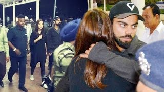 Virat Kohli Hugs Anushka Sharma At Rajkot Airport !!