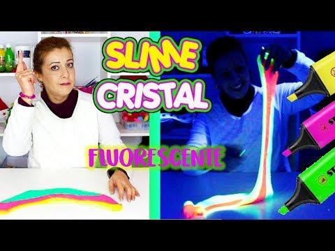 Como hacer slime cristal | DIY Crystal slime transparente y fluorescente