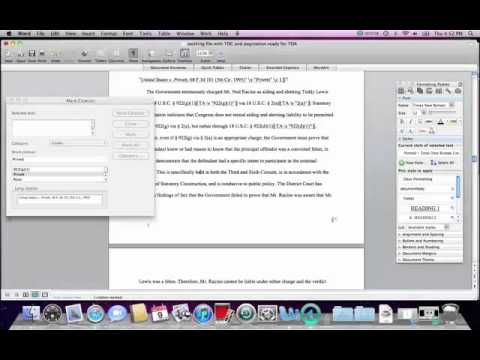 Format Appellate Brief using Mac: Table of Authorities