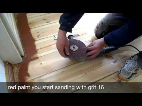 Sanding floorboards with the edge sander