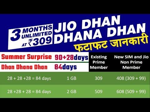 Jio Dhan Dhana Dhan Offer फटाफट जानकारी UNLIMITED 84 Days,
