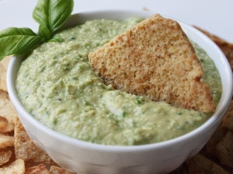 Green Hummus Recipe - Basil Garlic Hummus Spread or Dip Recipe