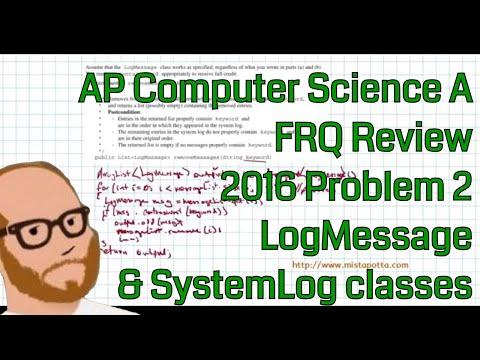 Computer Science A 2016 FRQ Problem 2