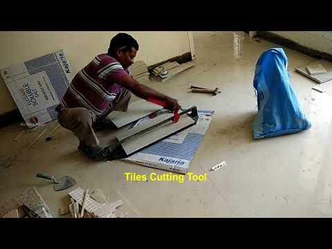 How to cut kajaria ceramic floor tiles using manual cutting tool