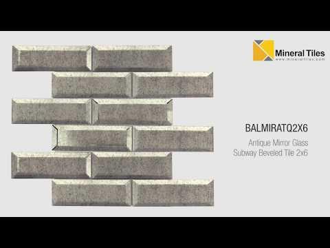 Antique Mirror Glass Subway Beveled Tile 2x6 - BALMIRATQ2X6