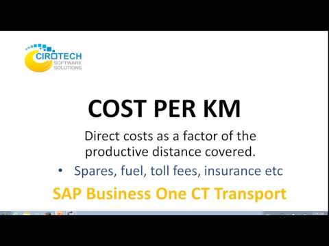 Cost Per Kilometer in CT Transportation for SAP Business One