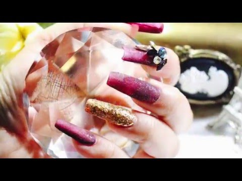 HOW TO:Make Acrylic nails in Maroon and Gold Color