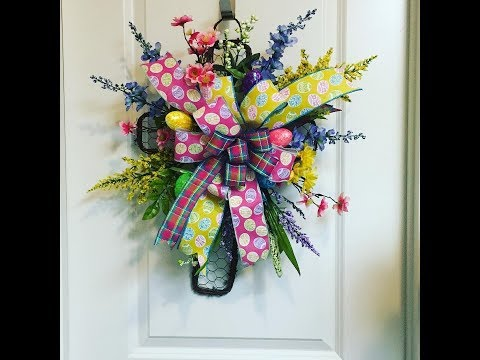 How to make a Easter Cross with big bow and florals