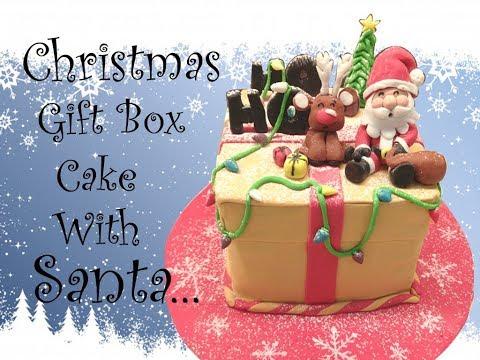 Christmas gift box cake with Santa | Christmas cake decoration