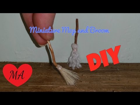 MINIATURE broom and mop TUTORIAL // DIY // Dollhouse
