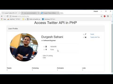 Twitter api in php part3: Show twitter profile data