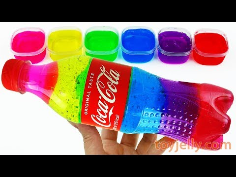 DIY How To Make Rainbow Coca Cola Bottle Slime Clay Jelly Learn Colors with Baby Toys Fun for Kids