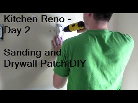 Sanding and Drywall Patching DIY - Kitchen Reno Day 2   DIY Distress