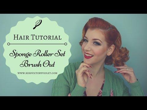 Sponge Roller Set Brush Out Vintage Hair Tutorial
