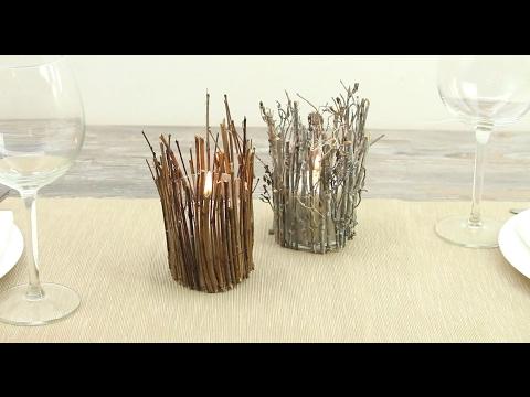 DIY Rustic Twig Candle Holder