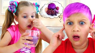 Diana and Roma Learn Colors with Yummy Fruits and Vegetables