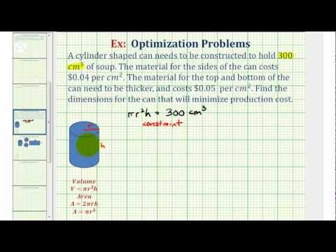 Ex: Optimization - Minimize the Cost to Make a Can with a Fixed Volume