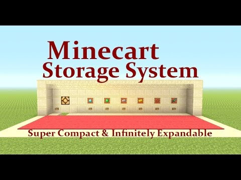 Minecraft Tutorial : Minecart Storage System Infinitely Expandable