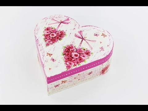 Decoupage wooden heart box - Fast & Easy Tutorial - DIY