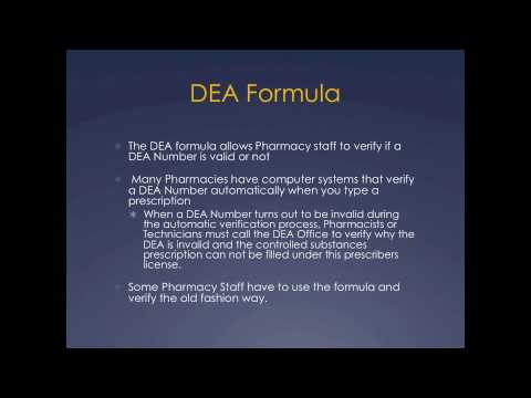 Pharmacy Technician Math Review: DEA Number Formula