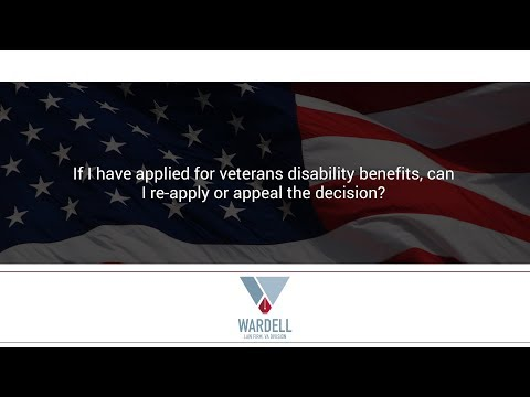 If I have applied for veterans disability benefits, can I re-apply or appeal the decision?
