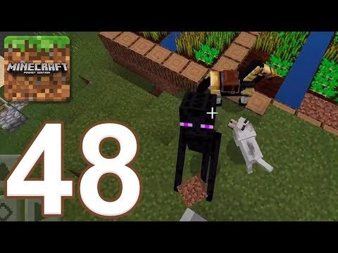 Minecraft: Pocket Edition - Gameplay Walkthrough Part 48 - Wolf vs Enderman, Survival (iOS, Android)