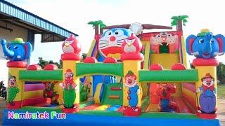 bermain di Istana Balon Doraemon Odong odong Mainan Anak banyak teman Kids Pool Fun Baloon Castle
