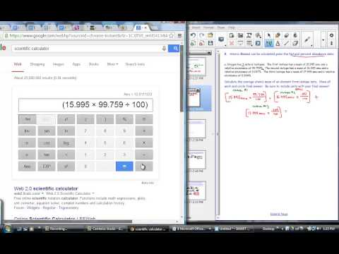 Calculating Atomic Mass from Percent Abundance Data