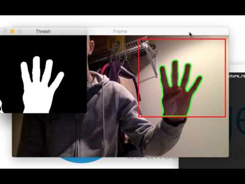 Extracting hand regions from video streams using motion detection and background subtraction.