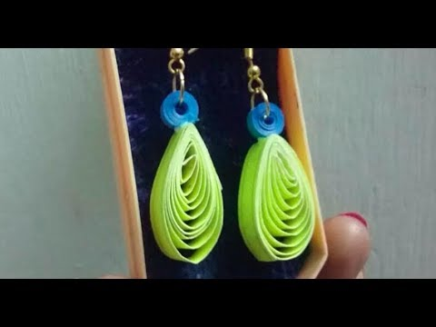 How to make quilling earrings easily at home l paper quilling ear rings , 2 minutes diy earrings,