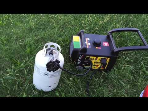 Testing a dual-fuel Champion inverter generator on propane starting a 15,000 BTU A/C