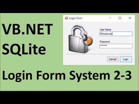 How to create Login Form using VB.Net and SQLite 2-3