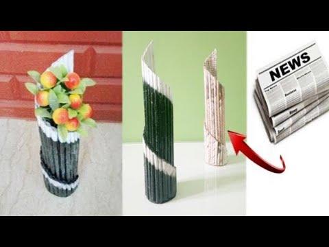 How to make Newspaper Flower Vase | flower Pot making | newspaper craft
