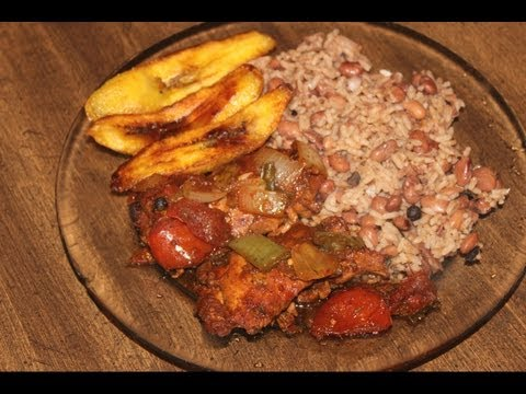 HOW - TO MAKE REAL JAMAICAN STEW CHICKEN , JAMAICAN RICE & PEAS WITH JAMAICAN PLANTAINS