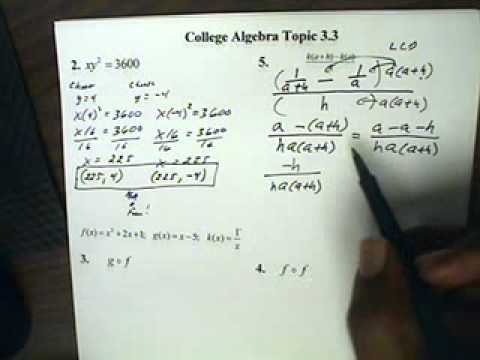 College Algebra Topic 3.3
