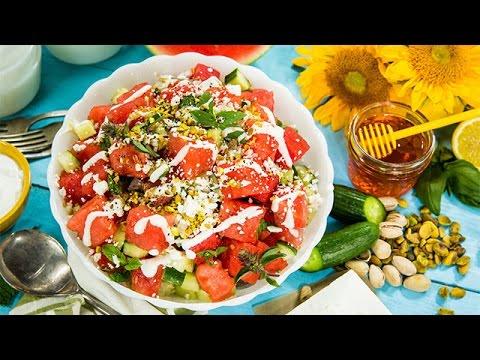 Recipe - Watermelon Feta Salad with Lime Yogurt Dressing - Hallmark Channel