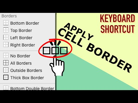 Apply border to cells or selection -Excel keyboard shortcuts