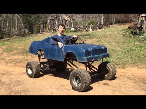 riding the homemade lifted go kart
