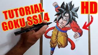 Como Colorir Goku Super Sayajin 4 How To Draw Goku Ssj 4