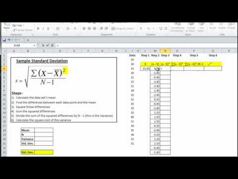 Excel Statistics 04: Calculating Variance and Standard Deviation